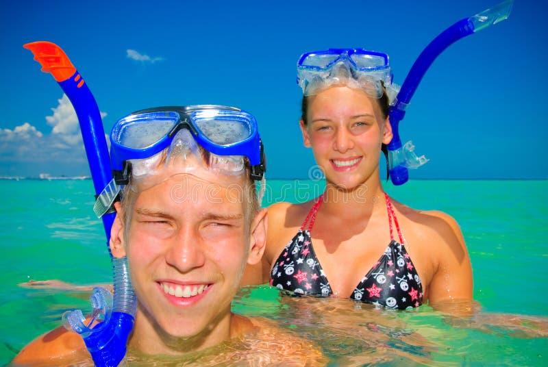 Siblings in water stock fotografie