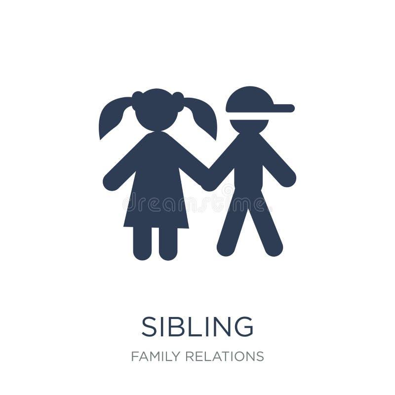 siblingsymbol Moderiktig plan vektorsiblingsymbol på vit backgroun stock illustrationer