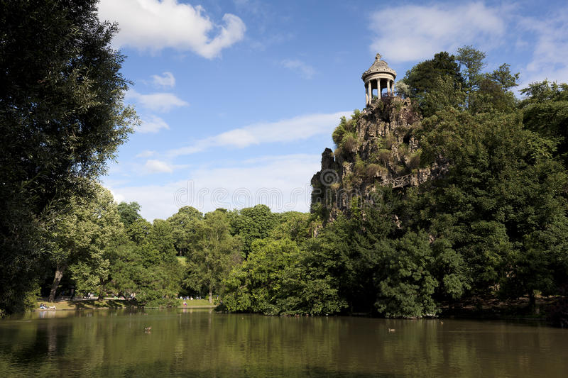 Sibylle temple in the Buttes-Chaumont park,. Sibylle temple, Buttes-Chaumont park, Paris, Ille de France, France royalty free stock photography