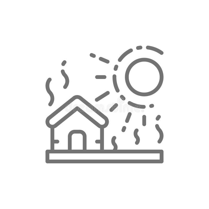 Siccità, disastro naturale, linea icona di catastrofe illustrazione di stock