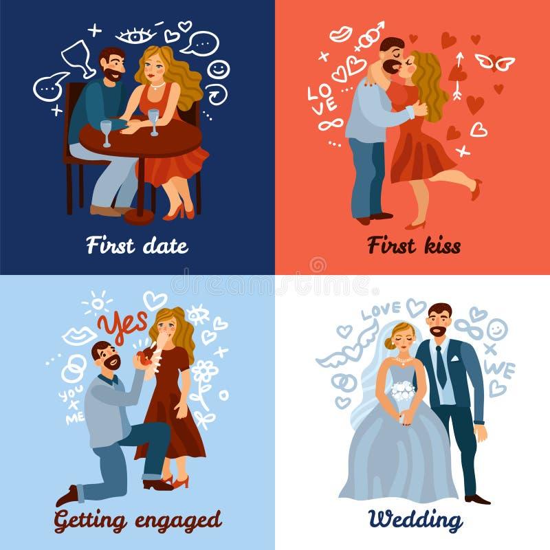 Sich entwickelndes Liebes-Beziehungs-Konzept stock abbildung