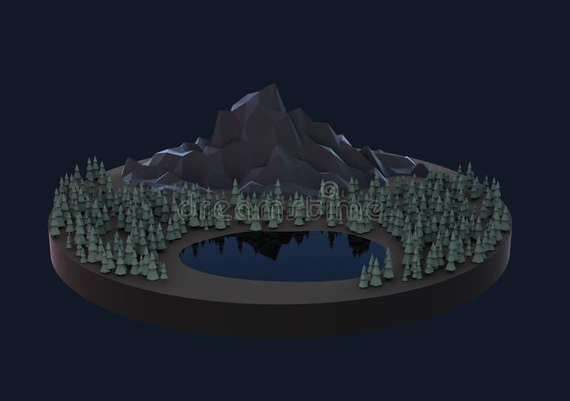 Sich hin- und herbewegende Insel der Illustration, lowpoly Masche lizenzfreie abbildung