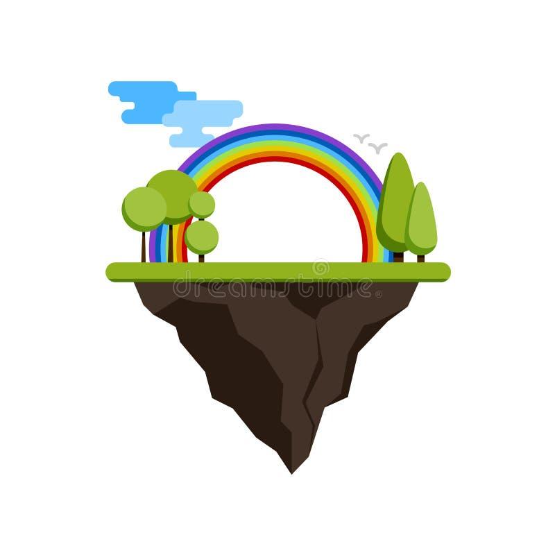 Sich hin- und herbewegende Insel mit einem Regenbogen und Bäumen vektor abbildung