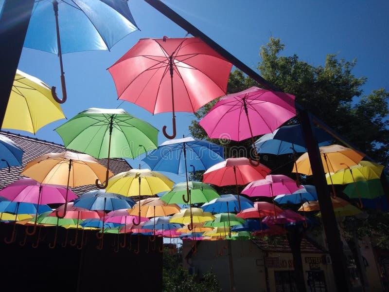 Sich hin- und herbewegende Regenschirme in Lazarevac, Serbien lizenzfreie stockbilder