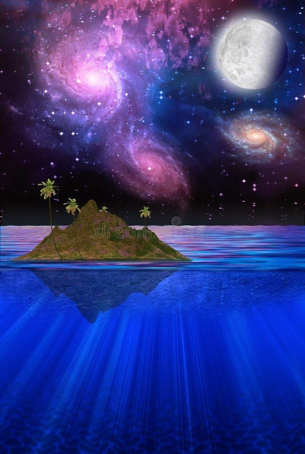 Sich hin- und herbewegende tropische Insel vektor abbildung