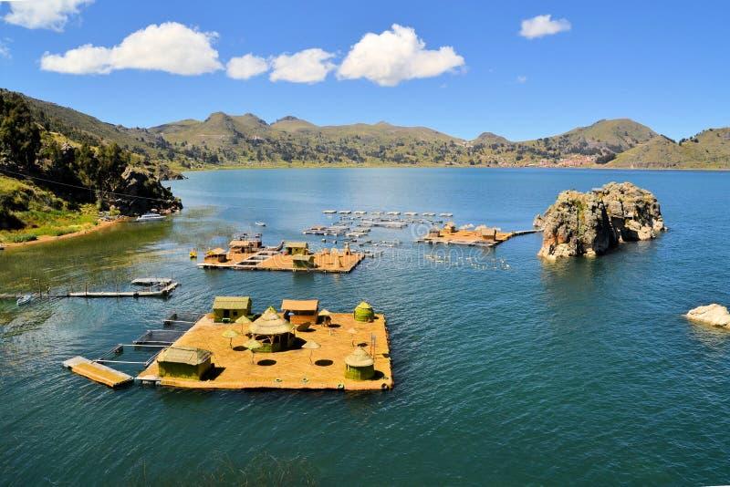 Sich hin- und herbewegende Uros-Inseln, Titicaca-See, Bolivien/Peru stockfotos
