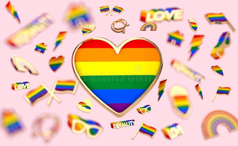 Sich hin- und herbewegende verschiedene Gegenst?nde angeschlossen mit homosexuellem Stolz und in der Mitte ein gro?es Herz mit Re vektor abbildung