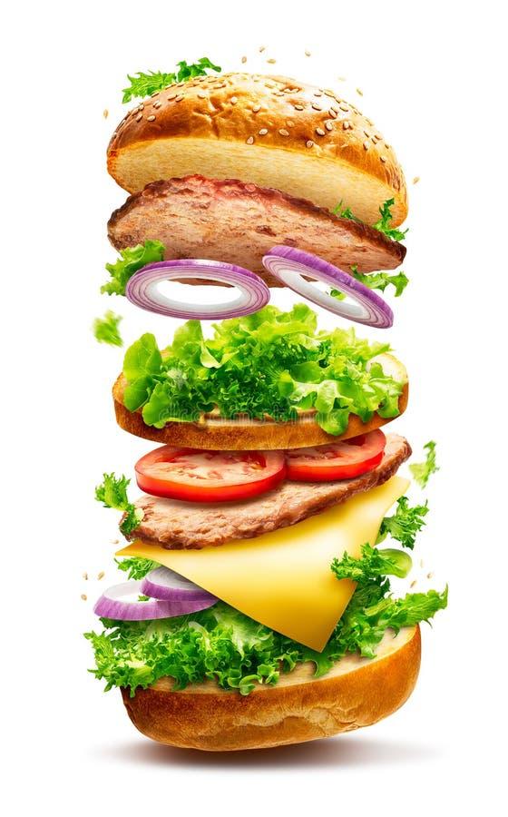 Sich hin- und herbewegender Burger lokalisiert lizenzfreies stockfoto
