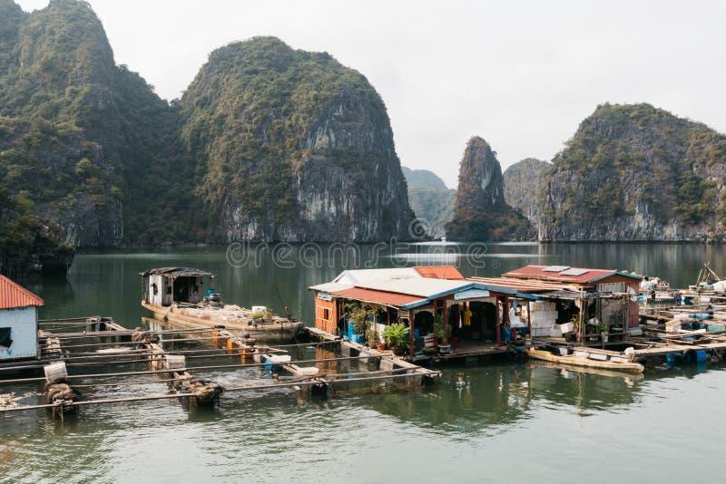 Sich hin- und herbewegendes Fischerdorf und Felseninsel, Halong-Bucht, Vietnam, Südostasien Der meiste popul?re Platz in Vietnam  stockbilder