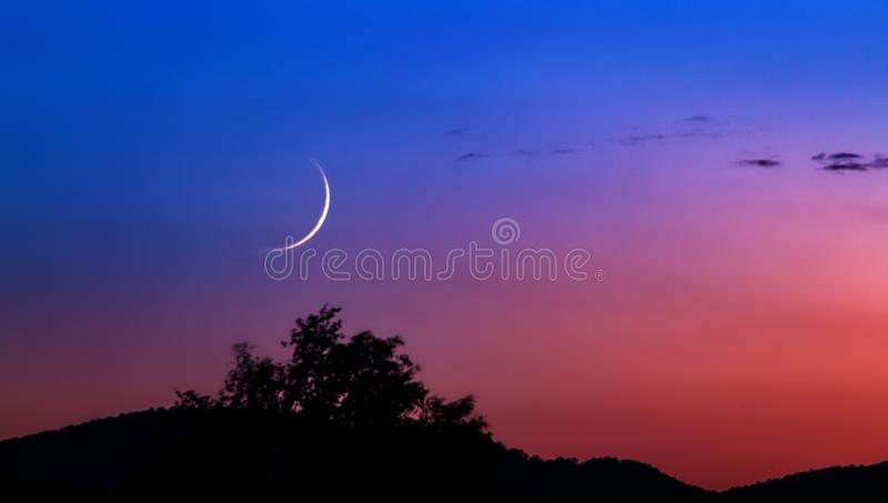 Sichelförmiger Mond in der blauen Stunde lizenzfreies stockbild