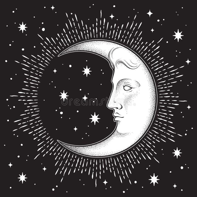 Sichelförmiger Mond und Sterne in der antiken Art übergeben gezogene Linie Kunst und dotwork Schicke Tätowierung Boho, Plakat, Al stock abbildung