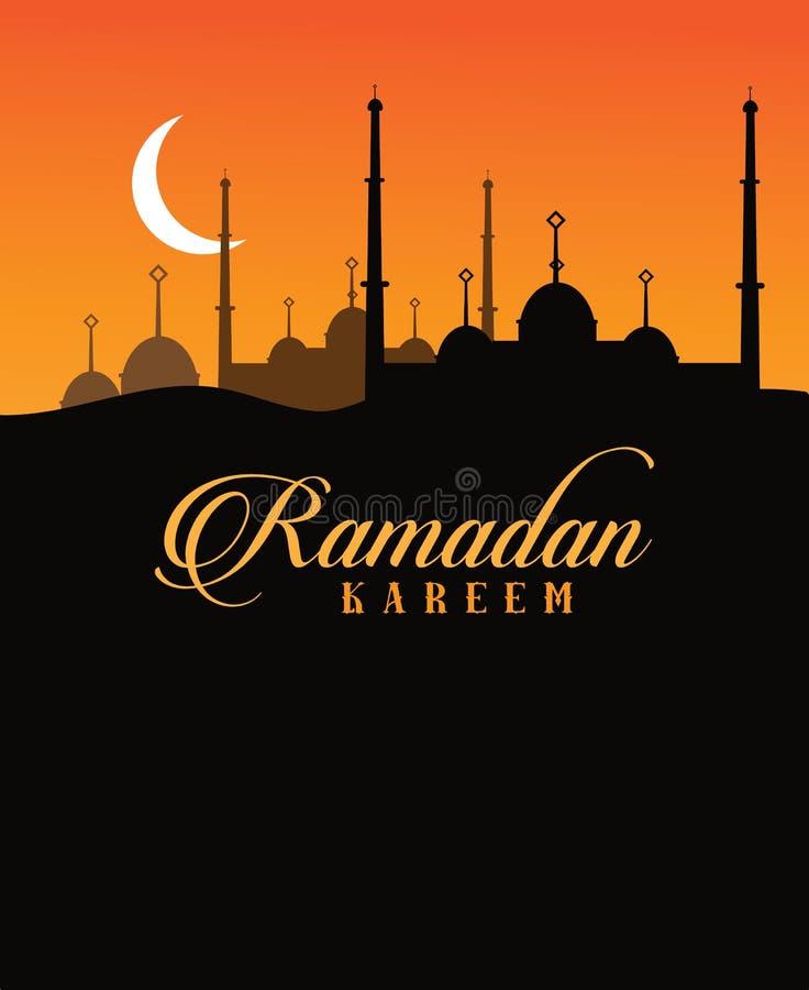 Sichelförmiger Mondhintergrund Ramadan-Textes vektor abbildung