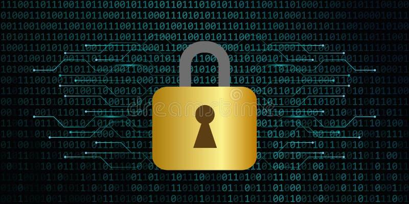 Sichere digitale Datenverbindung mit Verschlussbinär code-Hintergrund lizenzfreie abbildung