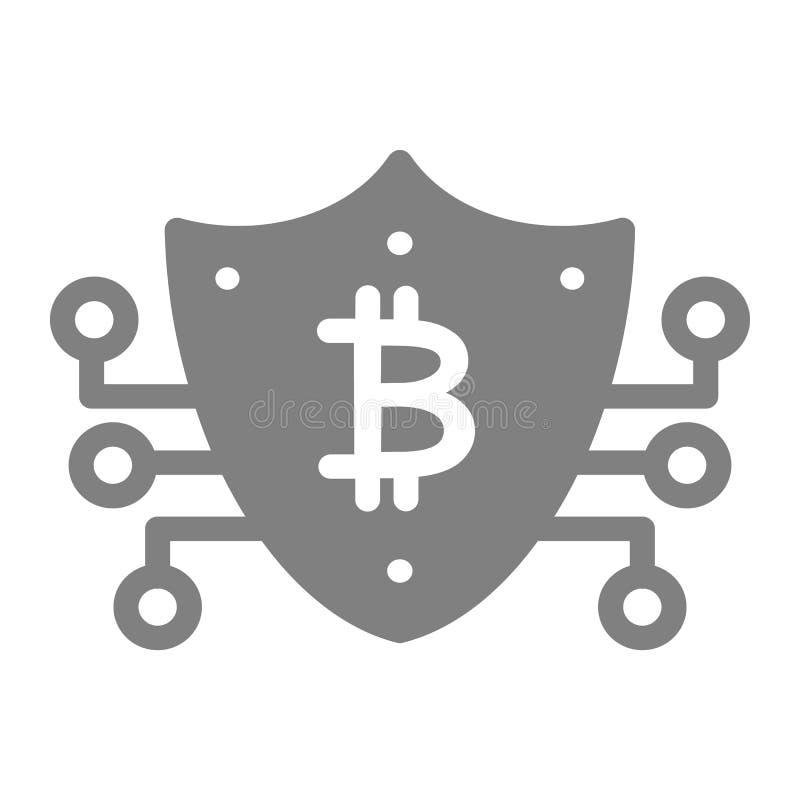Sichere feste Ikone Bitcoin Sicherheitsvektorillustration lokalisiert auf Weiß Schild Glyph-Artdesign, bestimmt für Netz vektor abbildung