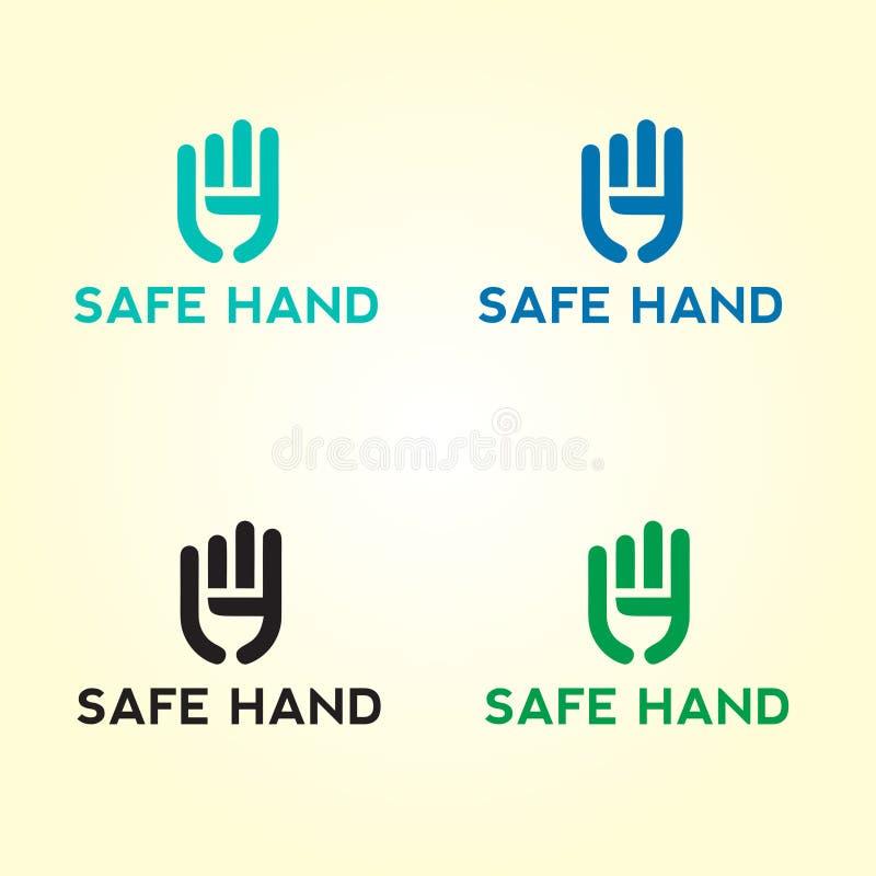 Sichere Handpflegelogoentwürfe, Teamwork-Logoschablonenentwürfe vektor abbildung