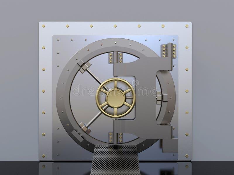 Sichere Tür der Bankspeicher-Wölbung gemacht von Stahl, geschlossen lizenzfreie abbildung