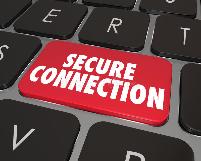 Sichere Verbindungs-Computer-Tasten-Internet-on-line-Sicherheit vektor abbildung