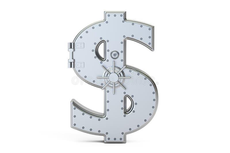 Sicherer Kasten der Kombination in Form des Zeichendollars, Wiedergabe 3D lizenzfreie abbildung