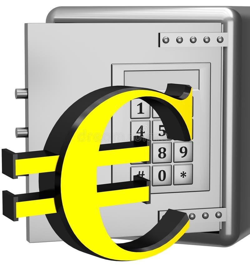 Sicherer Kasten mit Eurozeichen stock abbildung