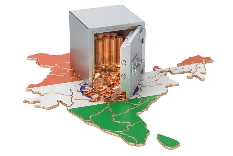 Sicherer Kasten mit goldenen Münzen auf der Karte von Indien, Wiedergabe 3D stock abbildung