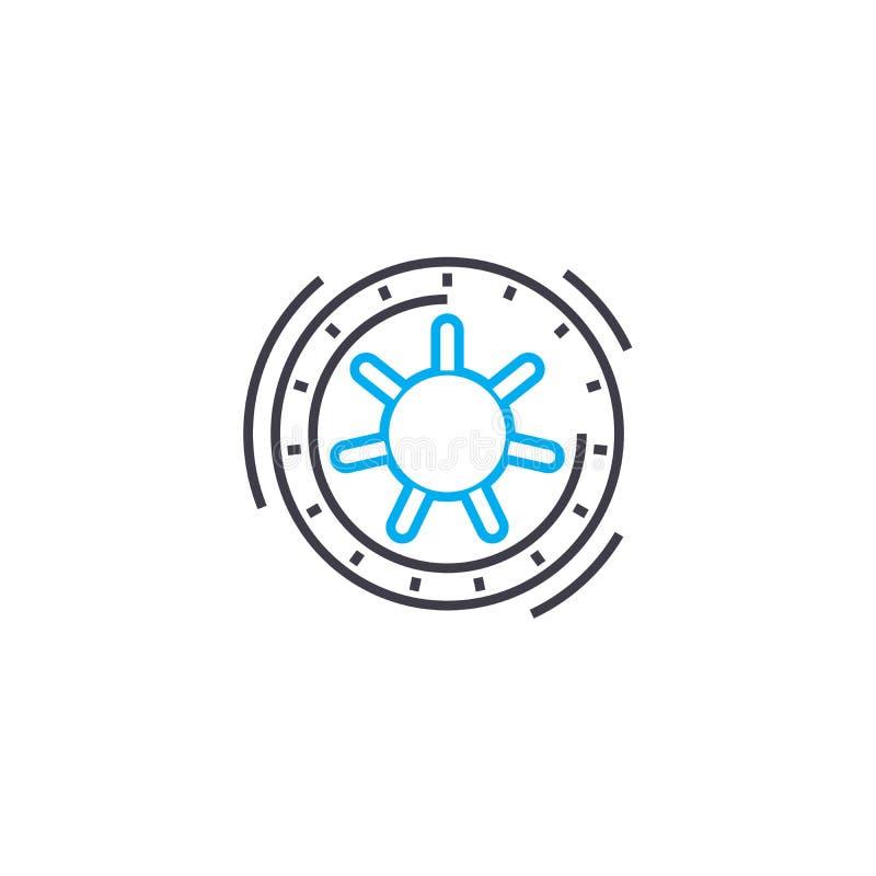 Sicherer niederlegender Vektor zeichnen dünn Anschlagikone Sichere niederlegende Entwurfsillustration, lineares Zeichen, Symbolko lizenzfreie abbildung