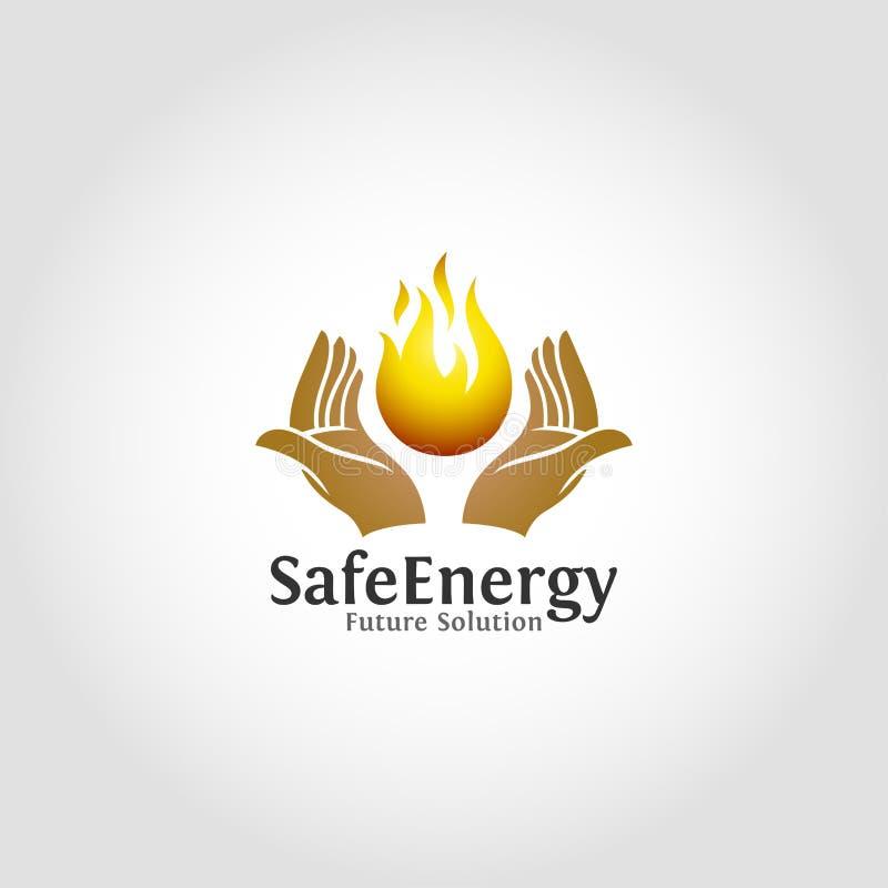Sicheres Energie-Logo ist eine alternative sichere Energielösung für zukünftiges, sauberes und umweltfreundliches lizenzfreie abbildung