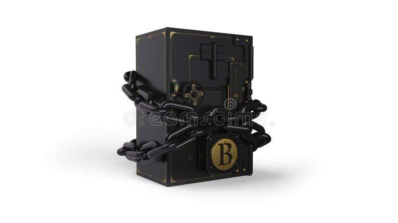 Sicheres geschlossenes auf dem Verschluss und der Kette Goldenes Bitcoin Weg eingeschlossen vektor abbildung