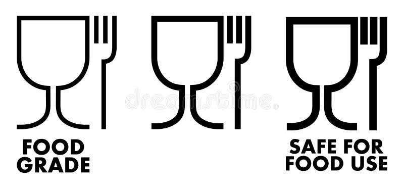 Sicheres materielles Zeichen des Lebensmittels Weinglas- und -gabelsymbol, das Winkel des Leistungshebels bedeutet vektor abbildung