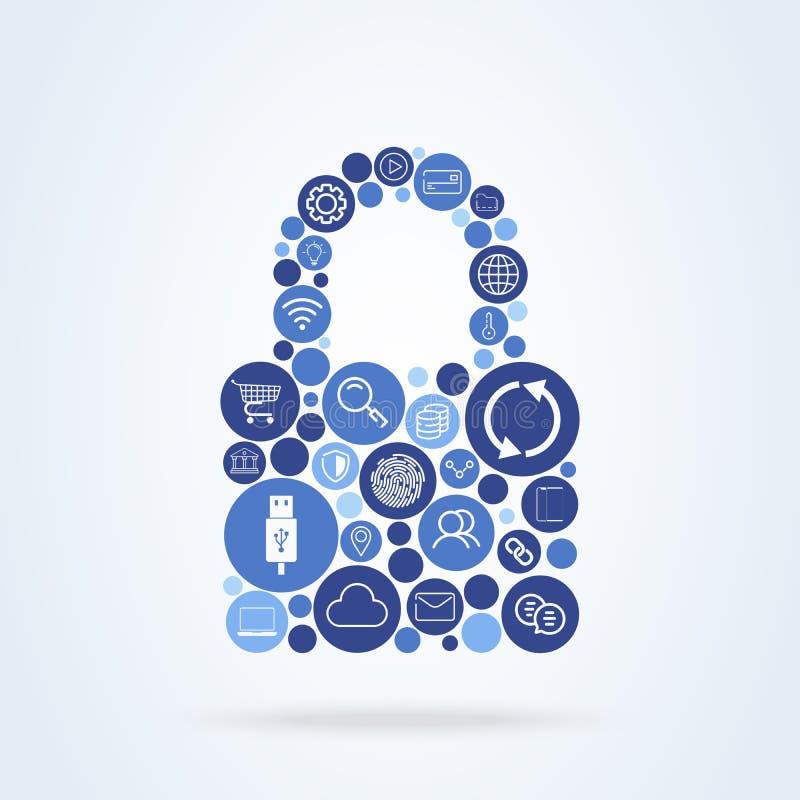 Sicheres Technologiekonzept des Verschlusses Vektorinternet-Schutzpasswort Flache Ikonen Technologie, rechnende Wolke, digitales  lizenzfreie abbildung