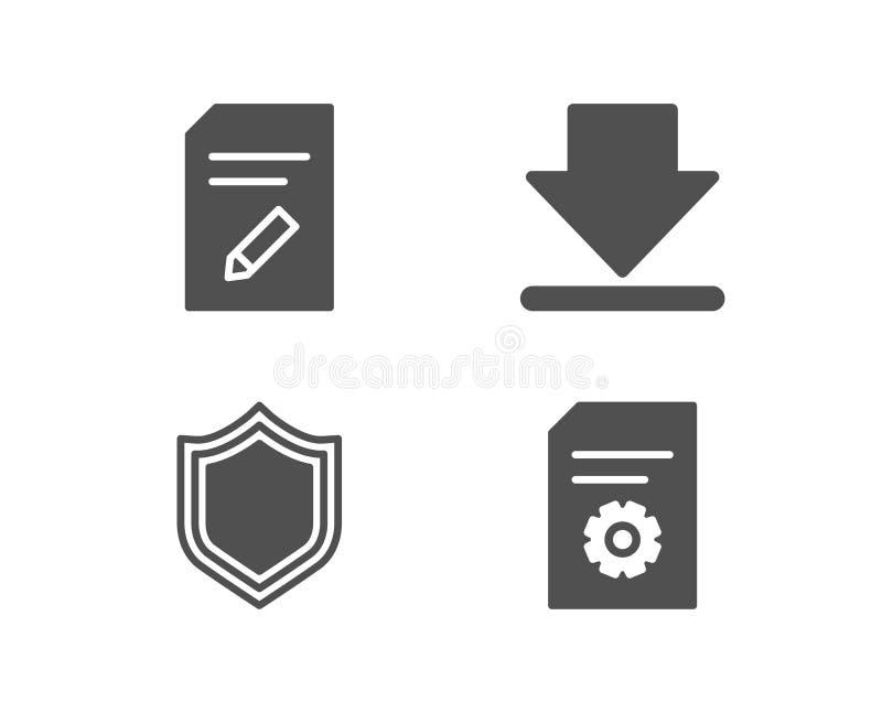 Sicherheit, Downloading und redigieren Dokumentenikonen Dateieinstellungszeichen vektor abbildung