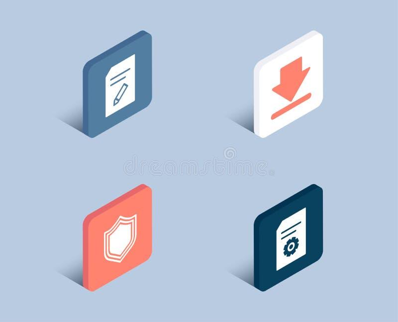 Sicherheit, Downloading und redigieren Dokumentenikonen Dateieinstellungszeichen lizenzfreie abbildung