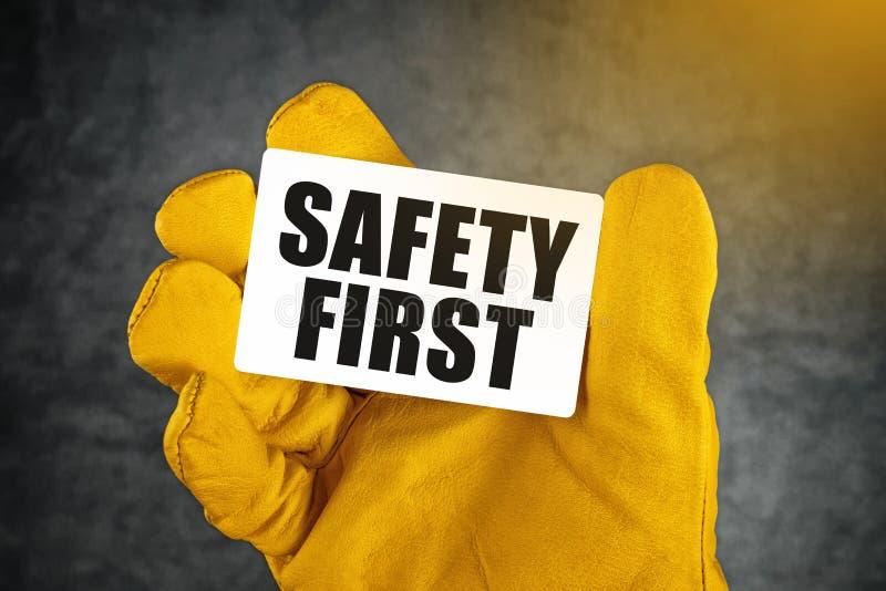 Sicherheit erste auf Visitenkarte lizenzfreies stockbild