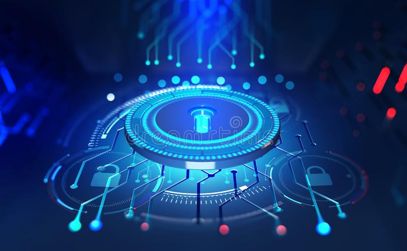 Sicherheit online Goldtext auf dunklem Hintergrund Digital-Schlüssel und -identifizierung Konzept von Cyberspace der Zukunft vektor abbildung