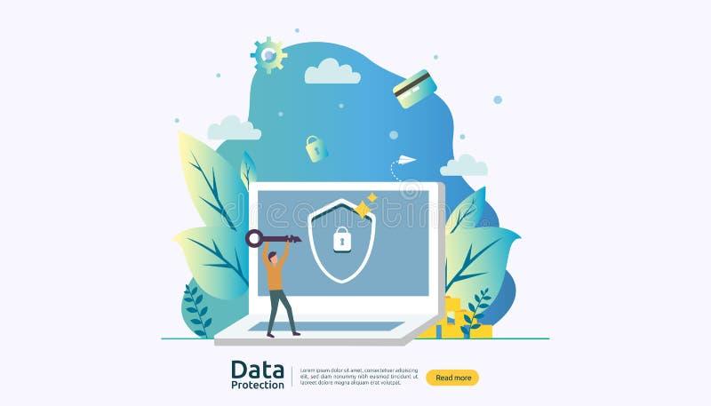 Sicherheit und vertraulicher Datenschutz VPN-Internet-Sicherheit Privatsph?rekonzept der Verkehrsverschl?sselung mit Leuten lizenzfreie abbildung