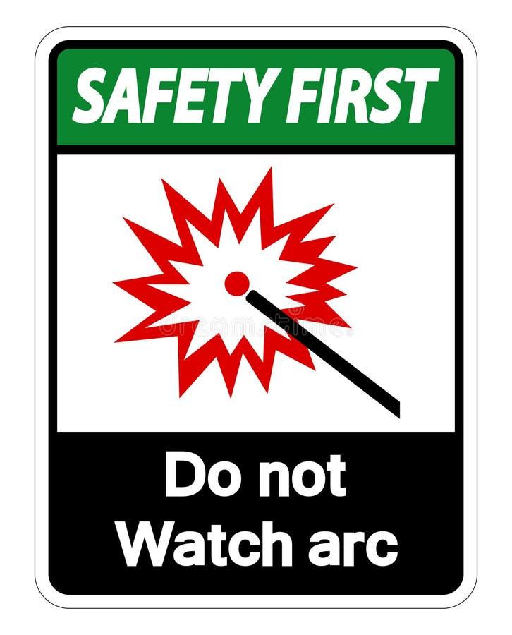 Sicherheit zuerst passen nicht auf, einen Bogen zu bilden Symbol-Zeichen-Isolat auf weißem Hintergrund, Vektor-Illustration vektor abbildung