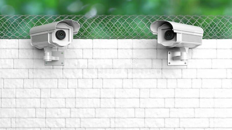 Sicherheitsüberwachungskamera auf weißer Backsteinmauer vektor abbildung