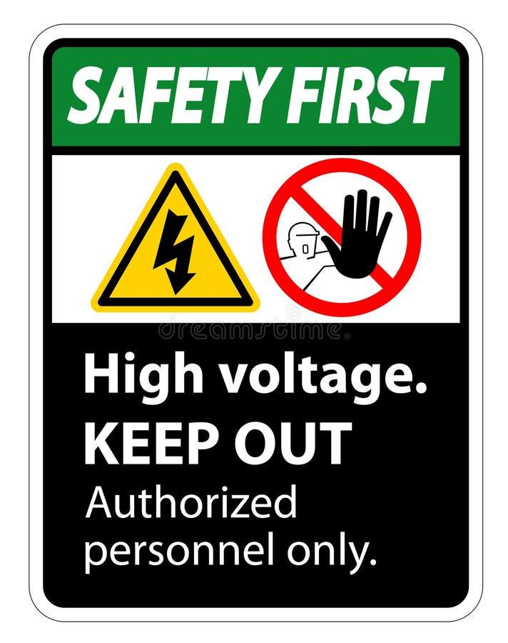 Sicherheits-erste Hochspannung halten Zeichen-Isolat auf weißem Hintergrund, Vektor-Illustration ENV ab 10 vektor abbildung
