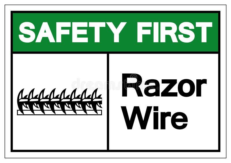 Sicherheits-erstes Rasiermesser-Draht-Symbol-Zeichen, Vektor-Illustration, lokalisiert auf weißem Hintergrund-Aufkleber EPS10 stock abbildung