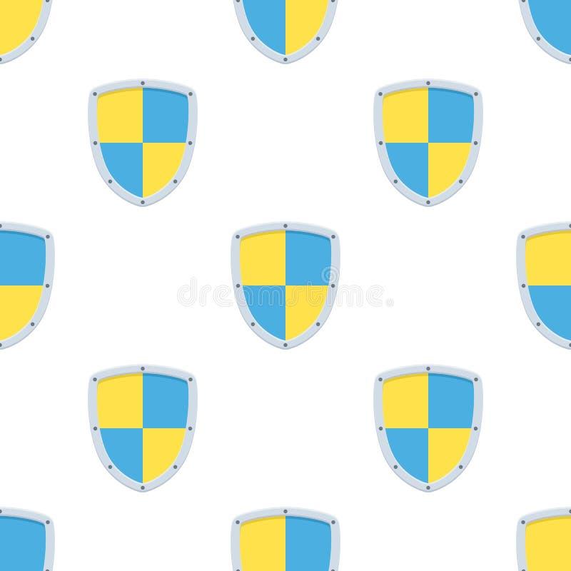 Sicherheits-Schild-flache Ikonen-nahtloses Muster lizenzfreie abbildung