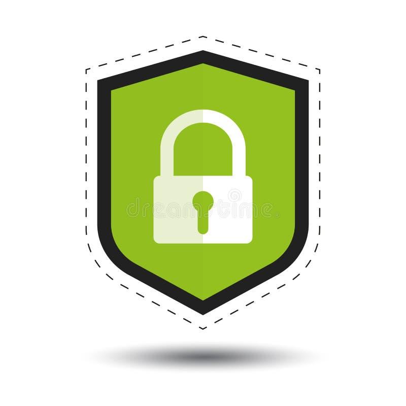 Sicherheits-Schild oder Virus-Schild mit Vorhängeschloß und Schatten - Entwurfs-Aufkleber-Vektor-Ikone für Apps und Website vektor abbildung