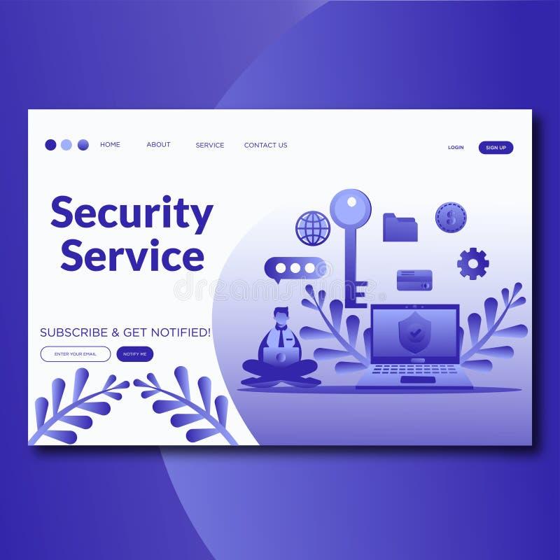 Sicherheits-Service-on-line-Sicherheitsdienste, die Seitenwebsite-Vektorschablone landen stock abbildung