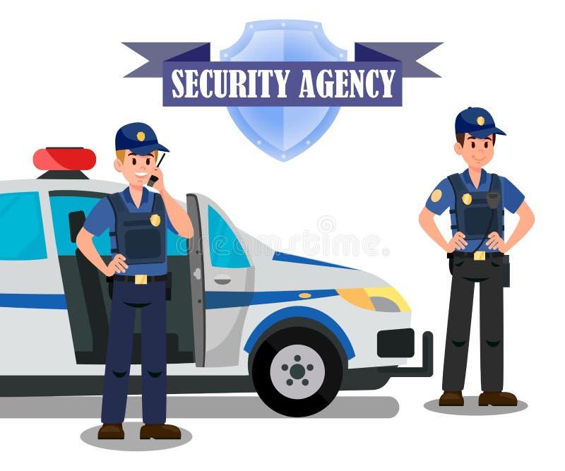 Sicherheitsbüro-Offiziere weisen Fahnen-Schablone eine Arbeit zu stock abbildung