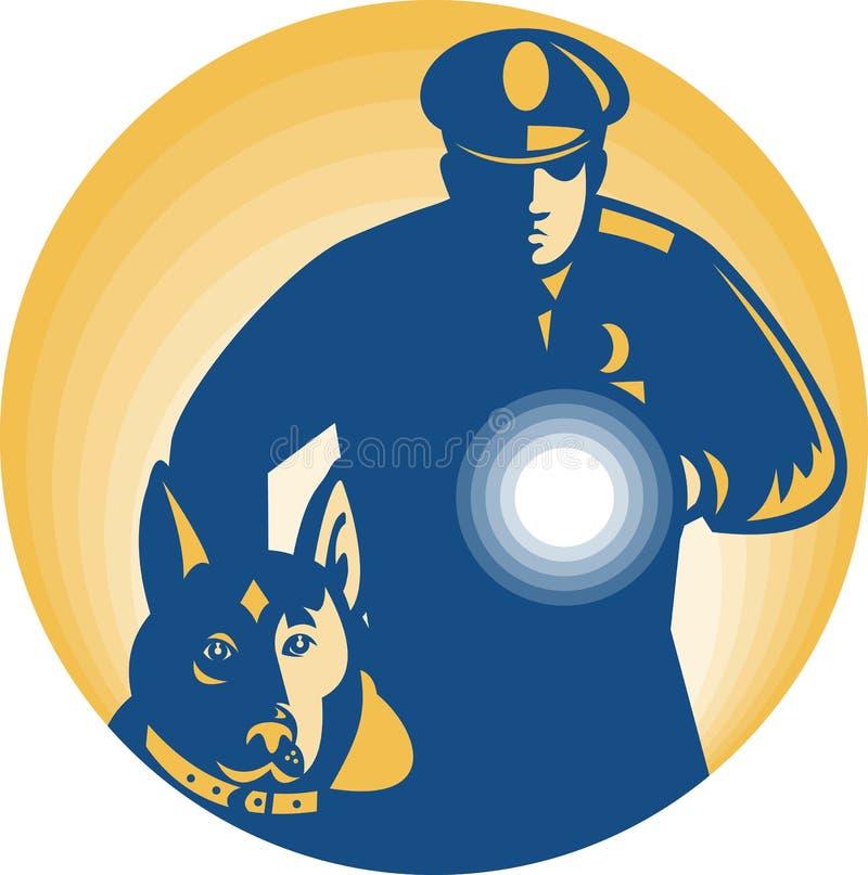 Sicherheitsbeamte-Polizist-Polizei-Hund lizenzfreie abbildung