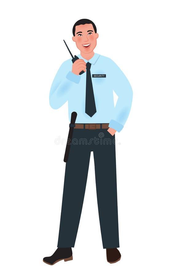 Sicherheitsbeamtefachmann in der Uniform in einer freien Haltung, die einen Radio hält Der Beruf des Sicherheitsbeamten Vektoril lizenzfreie abbildung