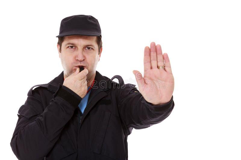 Sicherheitsbeauftragter, der das Stoppschild macht lizenzfreies stockbild