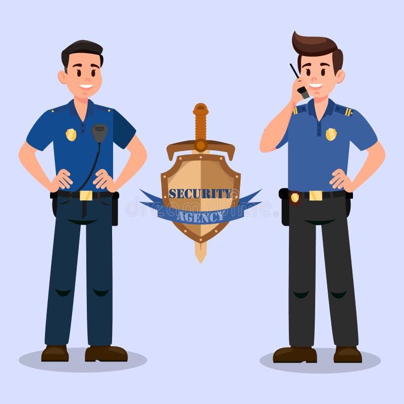 Sicherheitsdienst-Wächter-Zeichentrickfilm-Figuren vektor abbildung