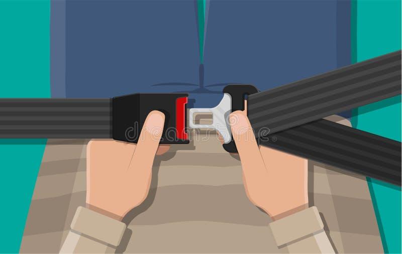 Sicherheitsgurt in der Hand vektor abbildung
