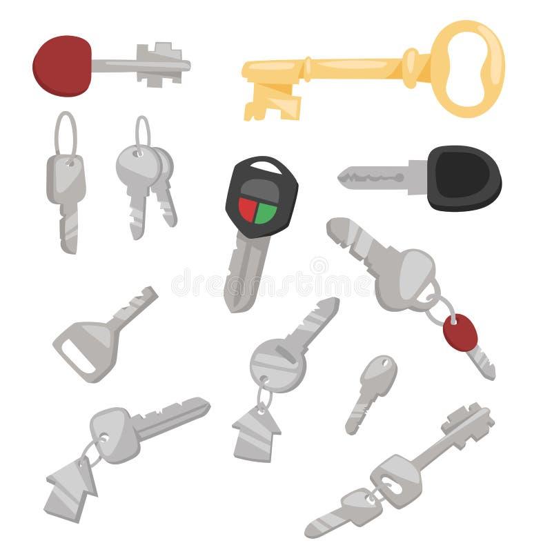 Sicherheitshaus-Schutzes des Türdekoratives Skelett des Schlüsselvektorillustrationszugangshaushaltswerkzeugs Retro- silbernen Me vektor abbildung