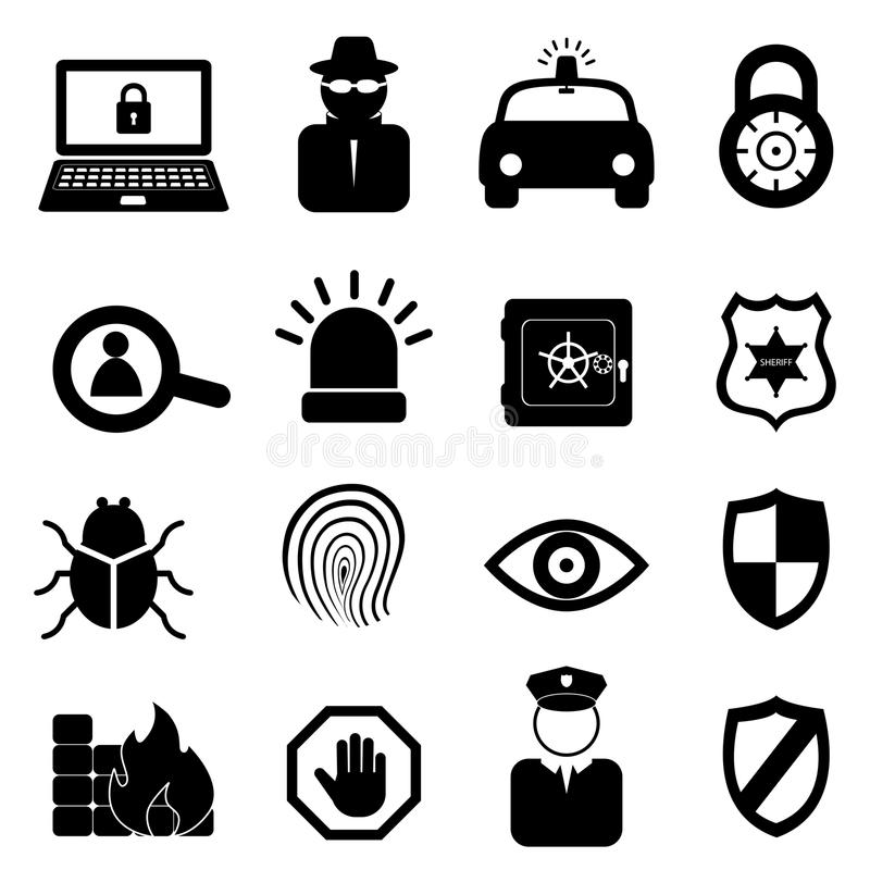 Sicherheitsikonenset stock abbildung