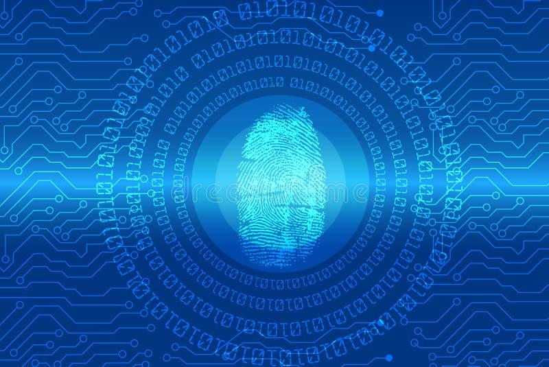 Sicherheitskonzept: Fingerabdruck Scannen auf digitalem Schirm Auch im corel abgehobenen Betrag stock abbildung
